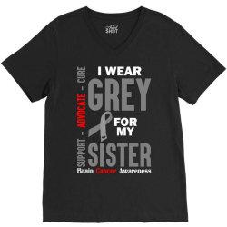 I Wear Grey For My Sister (Brain Cancer Awareness) V-Neck Tee | Artistshot