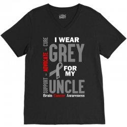 I Wear Grey For My Uncle (Brain Cancer Awareness) V-Neck Tee   Artistshot