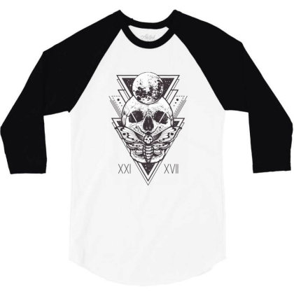 Butterfly Skull 3/4 Sleeve Shirt Designed By Estore