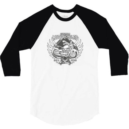 Custom Motorcycles 3/4 Sleeve Shirt Designed By Estore