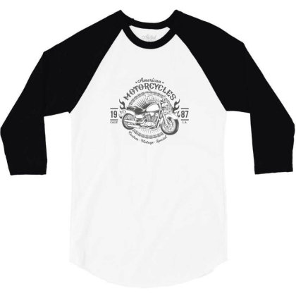 American Motorcycles 1987 3/4 Sleeve Shirt Designed By Estore
