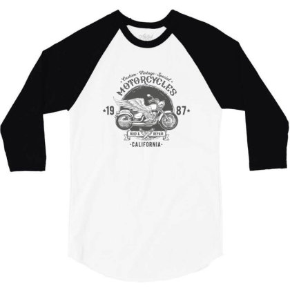 Custom Vintage Special Motocycles California 3/4 Sleeve Shirt Designed By Estore