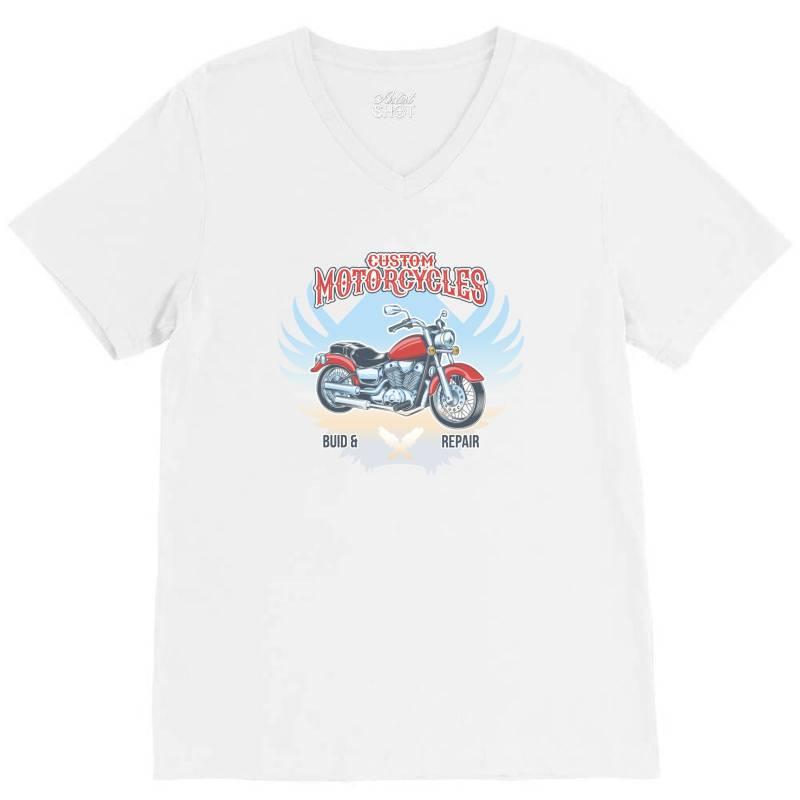 Custom Motorcycles V-neck Tee | Artistshot