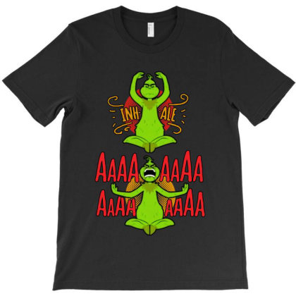 Grinch Yoga T-shirt Designed By Balqis Tees