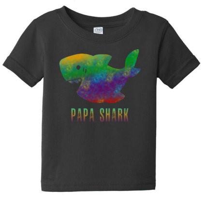 Papa Shark Baby Tee Designed By Pinkanzee