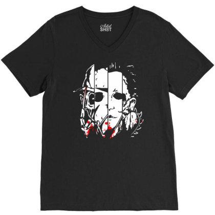 Halloween Horror Movie V-neck Tee Designed By Pinkanzee