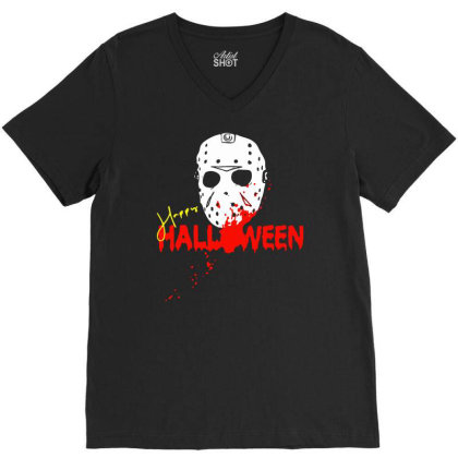 Mask Happy Halloween V-neck Tee Designed By Pinkanzee