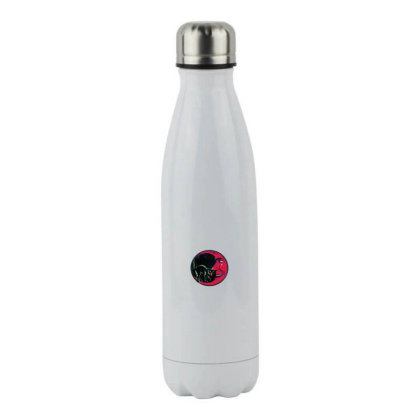 Cat On The Moon Stainless Steel Water Bottle Designed By Pinkanzee