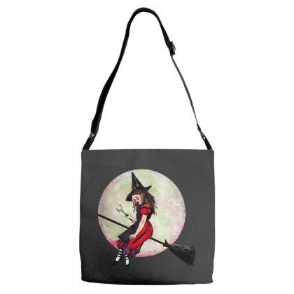 Witch Flying On Broom Adjustable Strap Totes Designed By Pinkanzee