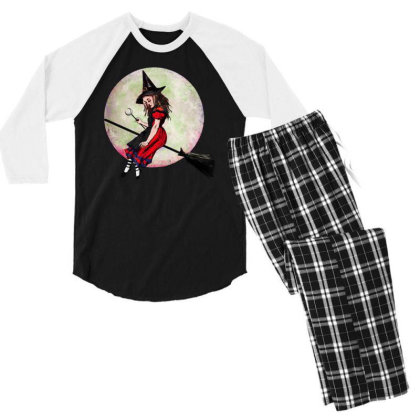 Witch Flying On Broom Men's 3/4 Sleeve Pajama Set Designed By Pinkanzee