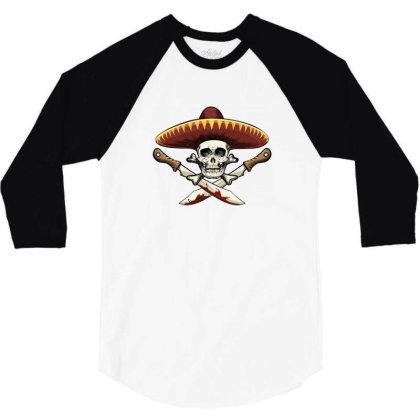 Mexico Skull 3/4 Sleeve Shirt Designed By Estore