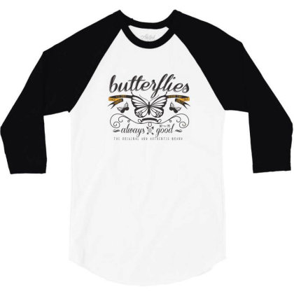 Butterflies Always Good 3/4 Sleeve Shirt Designed By Estore