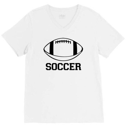 Soccer Black Version V-neck Tee Designed By Tillyjemima Art