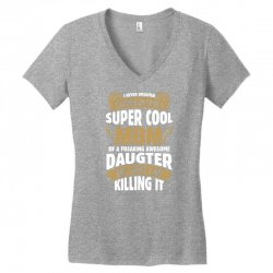 Super Cool Mom Of A Freaking Awesome Daughter Women's V-Neck T-Shirt | Artistshot
