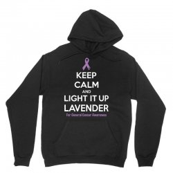 Keep Calm And Light It Up Lavender (For General Cancer Awareness) Unisex Hoodie | Artistshot