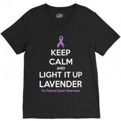 Keep Calm And Light It Up Lavender (For General Cancer Awareness) V-Neck Tee | Artistshot