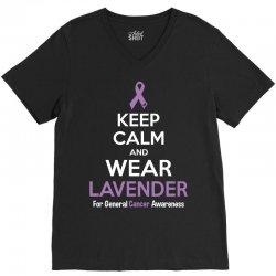 Keep Calm And Wear Lavender (For General Cancer Awareness) V-Neck Tee | Artistshot