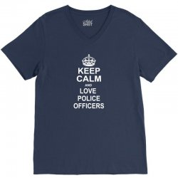 Keep Calm and Love Police Officers V-Neck Tee | Artistshot