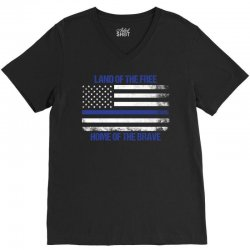 Land Of The Free, Home Of The Brave V-Neck Tee   Artistshot