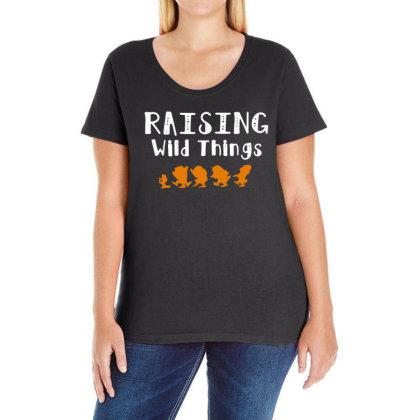 Raising Wild Things Ladies Curvy T-shirt Designed By Pinkanzee