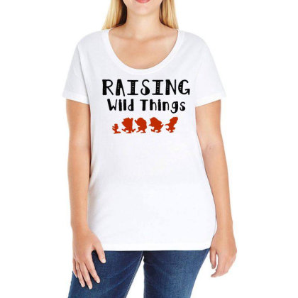 Raising Wild Things Hot Ladies Curvy T-shirt Designed By Pinkanzee
