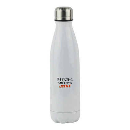 Raising Wild Things Hot Stainless Steel Water Bottle Designed By Pinkanzee