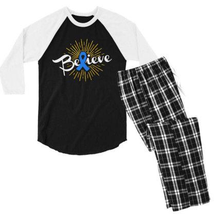Believe Men's 3/4 Sleeve Pajama Set Designed By Pinkanzee