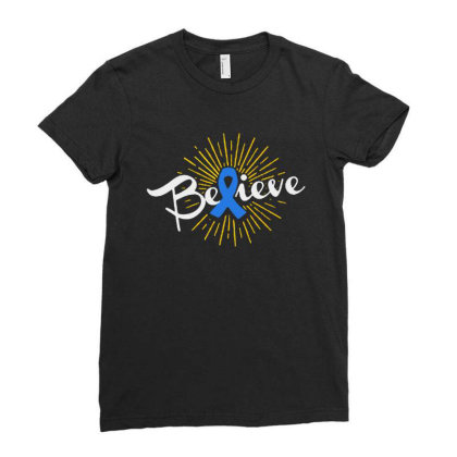 Believe Ladies Fitted T-shirt Designed By Pinkanzee