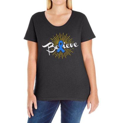 Believe Ladies Curvy T-shirt Designed By Pinkanzee