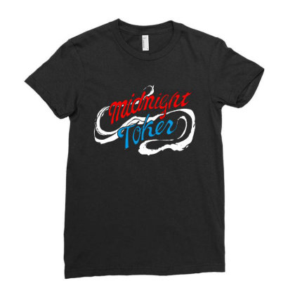 Midnight Ladies Fitted T-shirt Designed By Pinkanzee