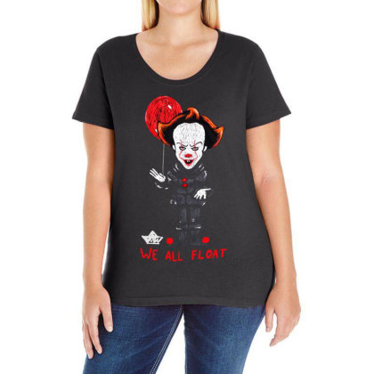 We All Float Ladies Curvy T-shirt Designed By Pinkanzee