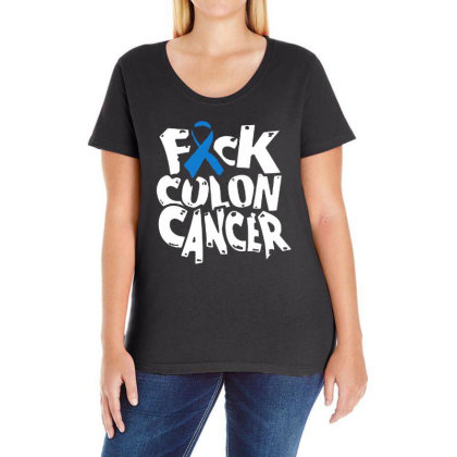 Colon Cancer Ladies Curvy T-shirt Designed By Pinkanzee