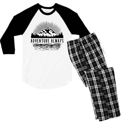 Adventure Always Men's 3/4 Sleeve Pajama Set Designed By Pinkanzee
