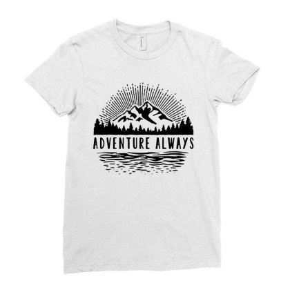 Adventure Always Ladies Fitted T-shirt Designed By Pinkanzee