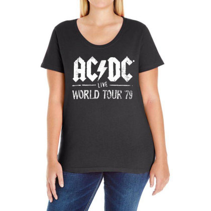 Acdc Live Ladies Curvy T-shirt Designed By Pinkanzee