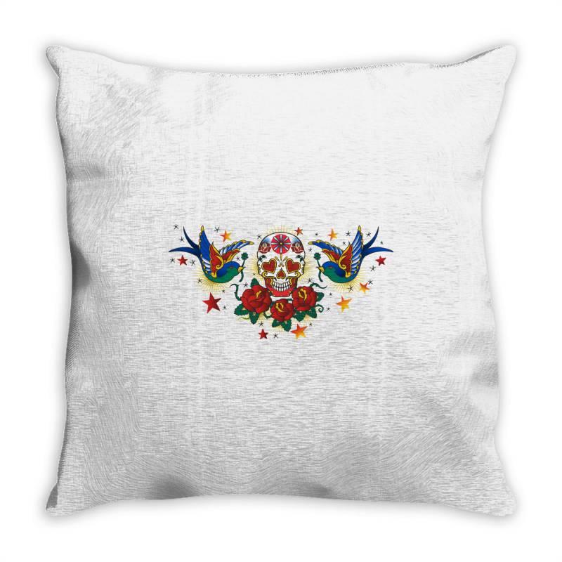 Skull, Birds, Rose Throw Pillow | Artistshot