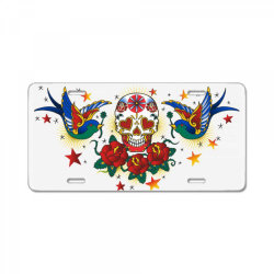 Skull, Birds, Rose License Plate | Artistshot
