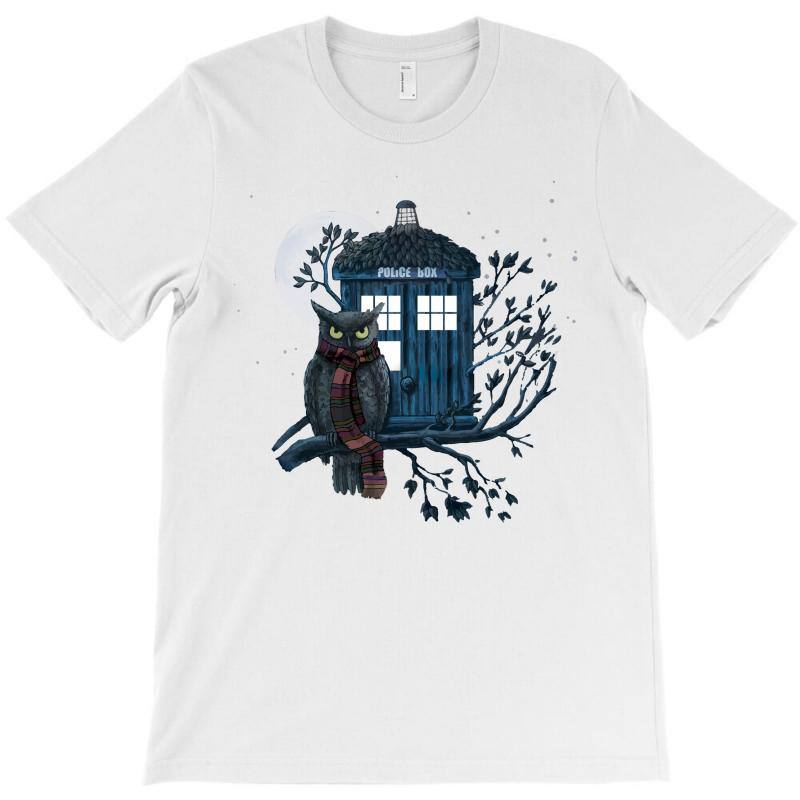 Owl And Tardis T-shirt | Artistshot