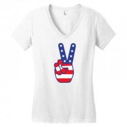 Peace Sign Hand Women's V-Neck T-Shirt | Artistshot