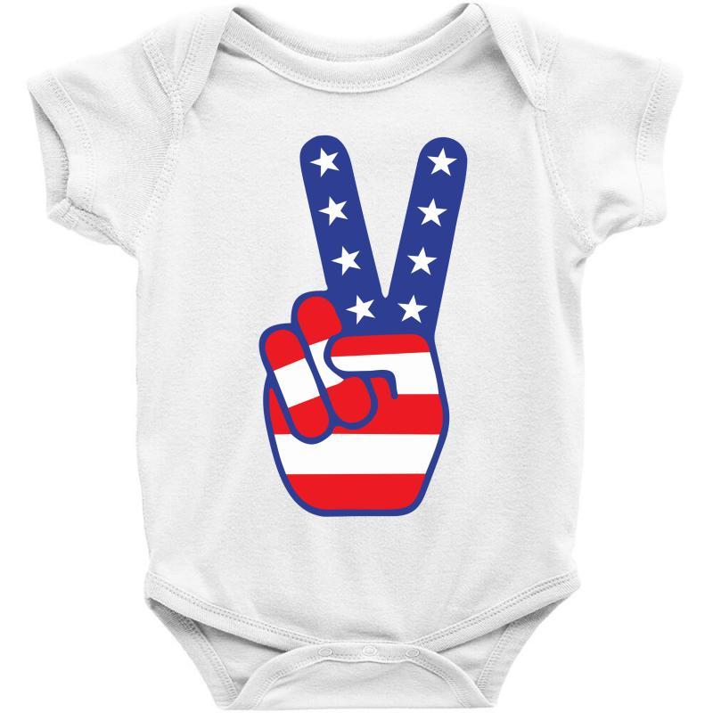 Peace Sign Hand Baby Bodysuit   Artistshot