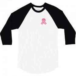 Pixeled Pink Ribbon 3/4 Sleeve Shirt | Artistshot