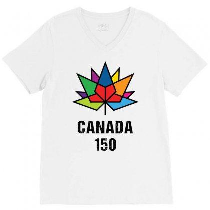 Canada 150th Anniversary V-neck Tee Designed By Tshiart