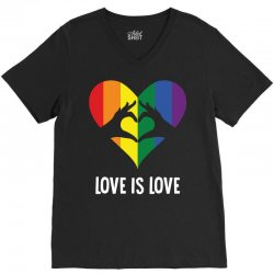 Love Is Love LGBT Rainbow Heart V-Neck Tee | Artistshot