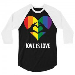 Love Is Love LGBT Rainbow Heart 3/4 Sleeve Shirt | Artistshot