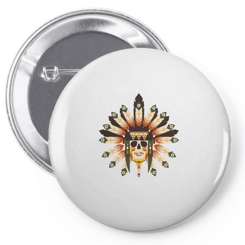 Indian Skull T-shirt Pin-back Button   Artistshot