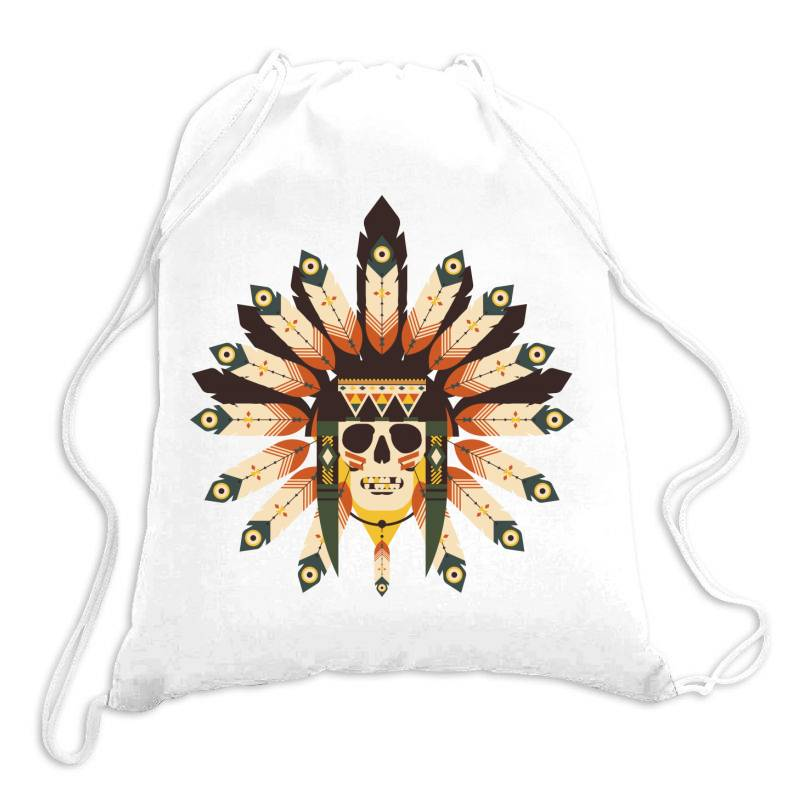 Indian Skull T-shirt Drawstring Bags   Artistshot