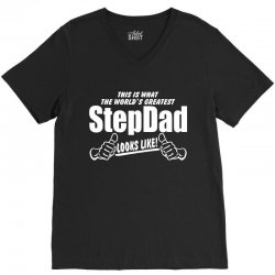 Worlds Greatest Step Dad Looks Like V-Neck Tee | Artistshot
