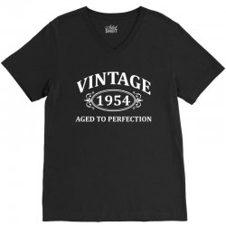 Vintage 1954 Aged to Perfection V-Neck Tee   Artistshot
