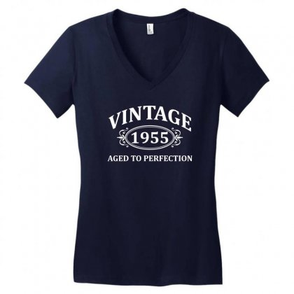 Vintage 1955 Aged To Perfection Women's V-neck T-shirt Designed By Tshiart