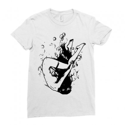 Drowning Ladies Fitted T-shirt Designed By Sbm052017